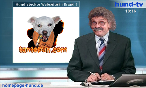 Hund steckt Webseite in Brand - HUND TV tantepuh.com Hundehomepage TANTE PUH
